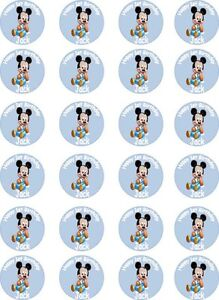 * PRE-CUT * 24 Personalised Baby Mickey Mouse Edible ...
