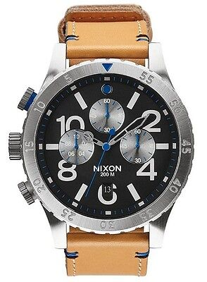 Nixon 48-20 Chronograph A3631602 Black Dial Tan Leather Band Men's Watch