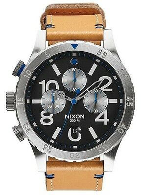 Nixon 48-20 Chronograph A3631602 Black Dial Tan Leather Band Men's Watch