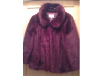 Vintage Style Burgundy Plum Faux Fur 3/4 Sleeve Jacket From Monsoon Brand New £149.99