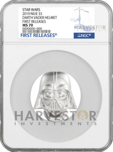 2019 STAR WARS DARTH VADER HELMET - 2 OZ. SILVER COIN - NGC MS70 FIRST RELEASES