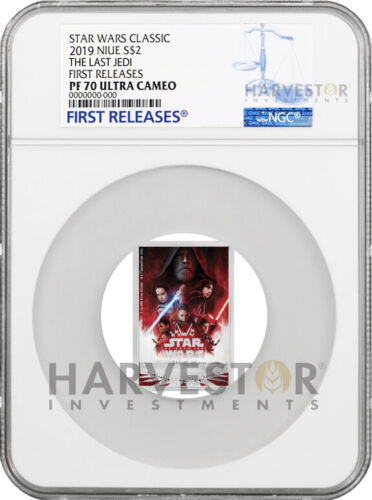 2019 STAR WARS THE LAST JEDI POSTER COIN - NGC PF70 FIRST RELEASES - 8TH IN SET
