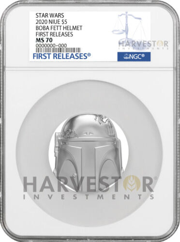 2020 STAR WARS BOBA FETT HELMET - 2 OZ. SILVER COIN - NGC MS70 FIRST RELEASES