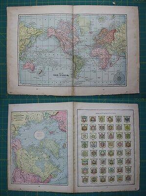 The World & Polar Regions Vintage Original 1899 Cram's World Atlas Map Lot