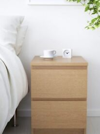 IKEA BEDSIDE TABLE AND TALL CHEST OF DRAWERS MALM - VG CONDITION CAMBERWELL LONDON