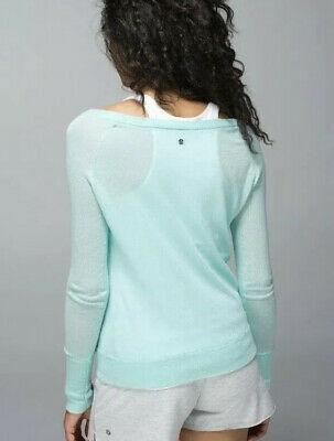 LULULEMON Chai Time Pullover II Sweater Heathered Aquamarine~Sz 8  $128 PRISTINE