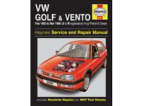 HAYNES VW GOLF AND VENTO SERVICE REPAIR MANUAL 1992 to 1998 PETROL AND DIESEL