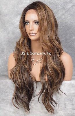 Human Hair Blend Mono Top LACE FRONT WIG Brown Auburn Blonde AUR 7002 Heat OK