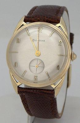 Mens Vintage 10K Gold Plate Bulova Round Fancy Lug Leather Silver Dial Watch 32M