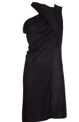 One Shoulder Milk Silk (RICK OWENS WHITE MILK Blistered Leather Silk Jersey Dress sz 38 S )