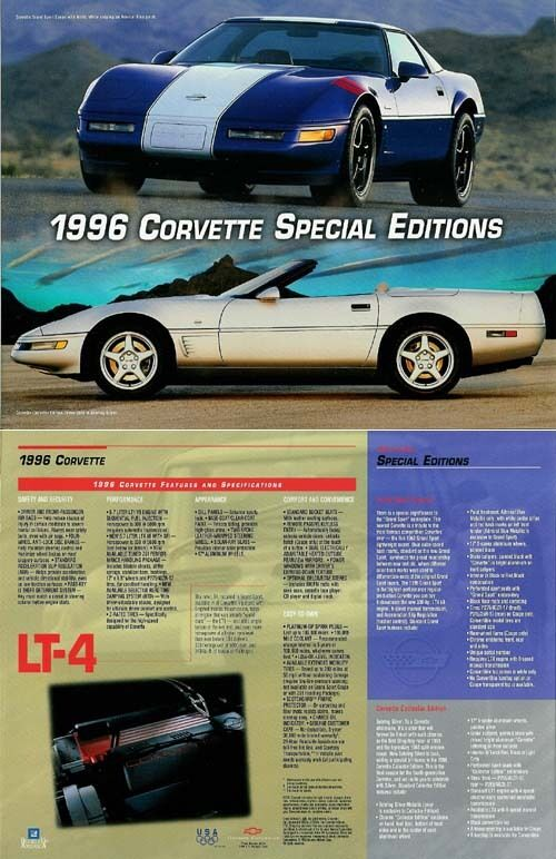 1996 Chevrolet Corvette Special Editions Data Sheet - Set of TWO!