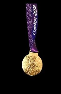 Most Selling Coin 2012 London Olympic 'Gold' Medal+ Ribbon ORIGINAL Heavy Size