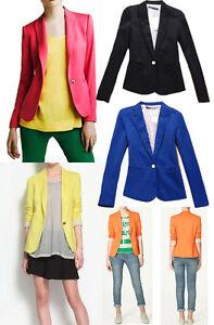 Fashion-Candy-Color-Basic-Slim-Foldable-Lapel-Suit-Jacket-Blazer-Coat-XS-S-M-L
