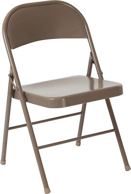 4 PACK Metal Folding Chair Beige Frame Finish Double Braced