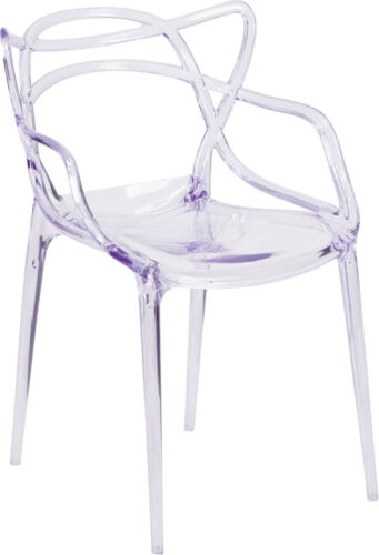 LOT OF 4 BEAUTIFUL NESTING SERIES TRANSPARENT STACKING SIDE CHAIR