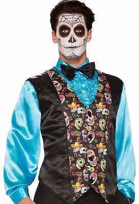 DAY OF THE DEAD VEST SUGAR SKULLS ADULT COSTUME ACCESSORY MEN'S SIZE STANDARD