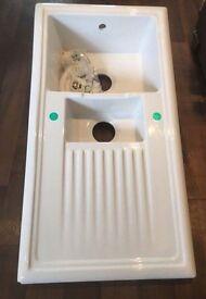 New/Graded Reginox White Ceramic Reversible Kitchen Sink & Waste