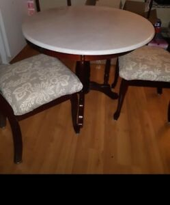 Solid Marble Top Kitchen Table Set with 2 Chairs!