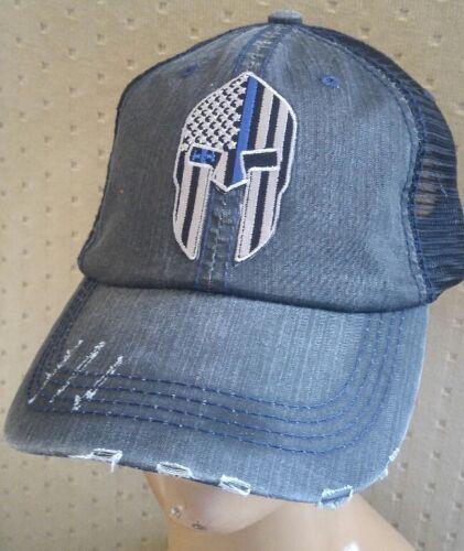 Spartan Helmet Thin Blue Line Baseball Ball Cap USA Flag