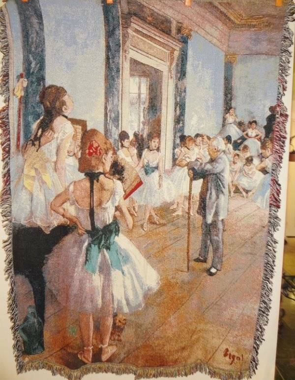 NWT Ballerina Licensed Edgar Degas Art Tapestry Afghan Throw Blanket last one