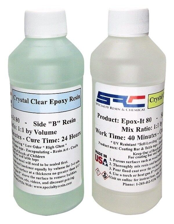 Crystal Clear Bar Table Top Epoxy Resin For Coating Wood Tabletops 16 oz