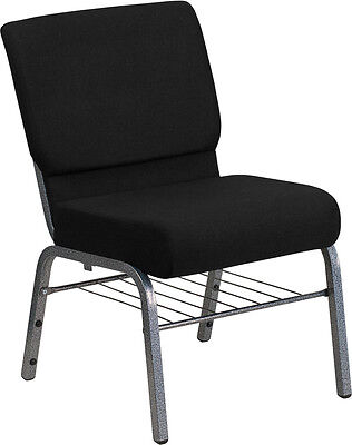 Lot Of 100 21 Extra Wide Black Church Chair Book Rack - Silver Vein Frame
