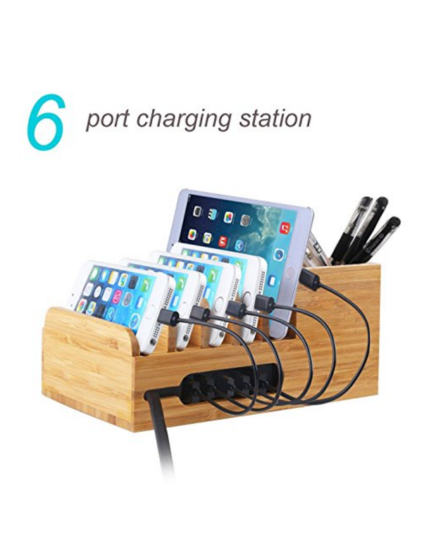 Bamboo Universal Multi Device Cord Organizer Stand and Charg