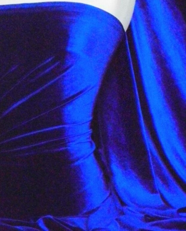 Premium Royal Blue Velvet Velour Lycra Spandex 4 Way Stretch dress craft fabric