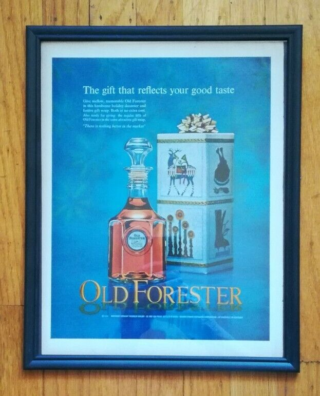 1964 Framed Old Forester Bourbon Whiskey for Christmas Original Vintage Print Ad