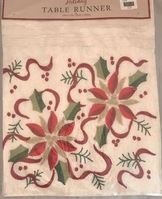 "Holiday Table Runner by Arlee Home Fashions 13"" x 72"" Ribbon Poinsettia NEW"