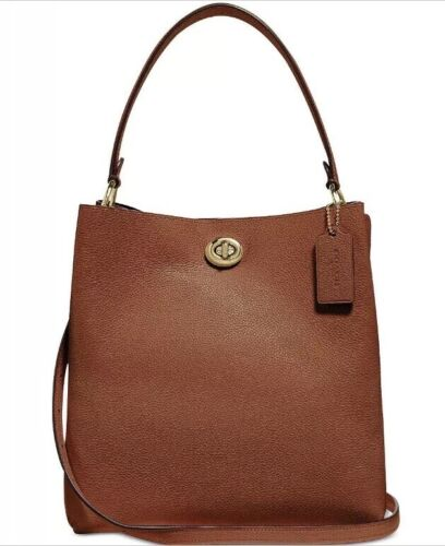 Coach Saddle Gold Polished Pebble Leather Charlie Bucket Crossbody Top handle Bag