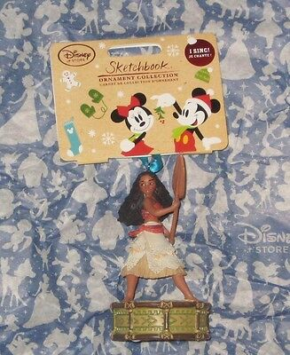 DISNEY STORE SINGING MOANA 2016 SKETCHBOOK CHRISTMAS ORNAMENT. NEW.