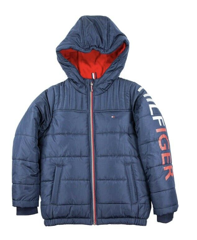 Tommy Hilfiger Jacket Coat Youth Boy Fleece Lining Hood Warm S 7-8