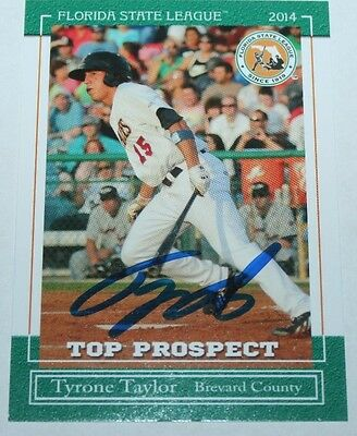 Tyrone Taylor signed 2014 Florida State League Top Prospect FSL Rookie card (Tyrone Florida)
