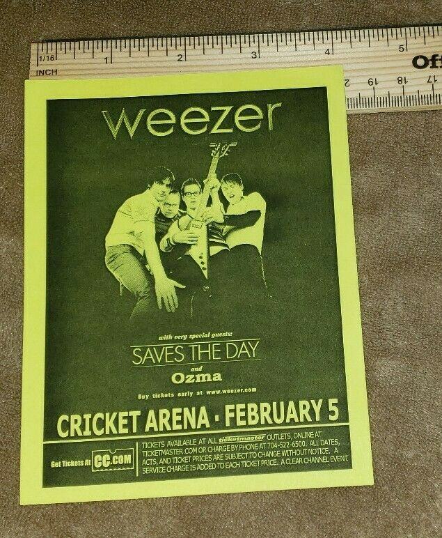 WEEZER concert hand flyer charlotte nc  free US shipping