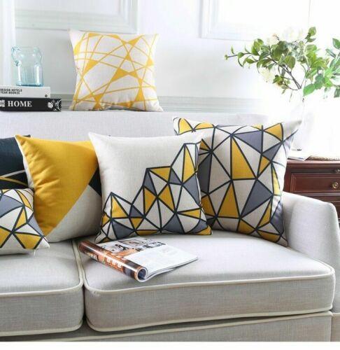 Yellow Cotton Linen Pillow Case Sofa Car Waist Throw Cushion Cover Home Decor