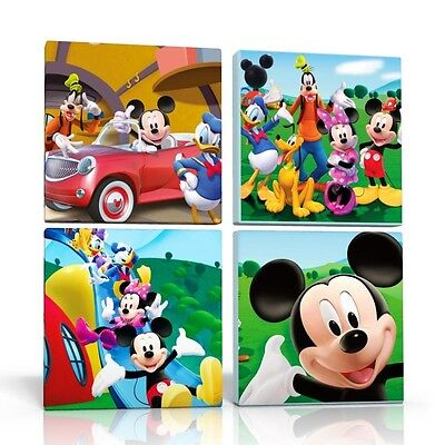 4 X DEEP EDGE CANVAS PICTURES WALL ART MICKEY MOUSE CLUBHOUSE  FREE P&P  NEW