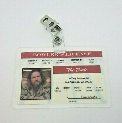 The Big Lebowski ID Badge - Jeffery Lebowsk - The Big Lebowski Halloween Costume
