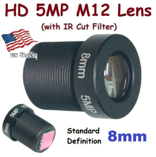 "Sunvision 1/2.5"" HD 5MP Monofocal 8.0mm 40° M12 Board Lens + IR Cut Filter FPV"