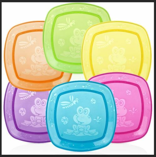 Nuby Fun Feeding Square Plate - Durable - Fun - Travel - BPA Free