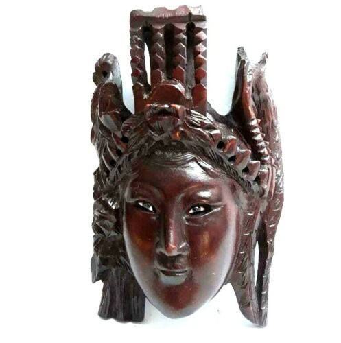 Antique 19C Chinese Rosewood Hand Carved Mask Of Impress w Bird&Flower Wall Hang