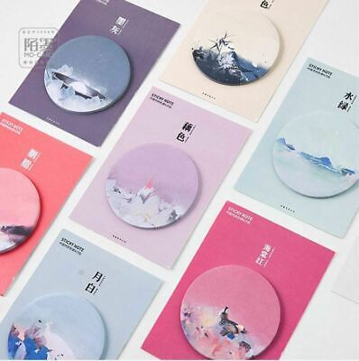 Lot 8 Novelty Chinese Watercolor Painting Cute Memo Pad Stationery Sticky Notes