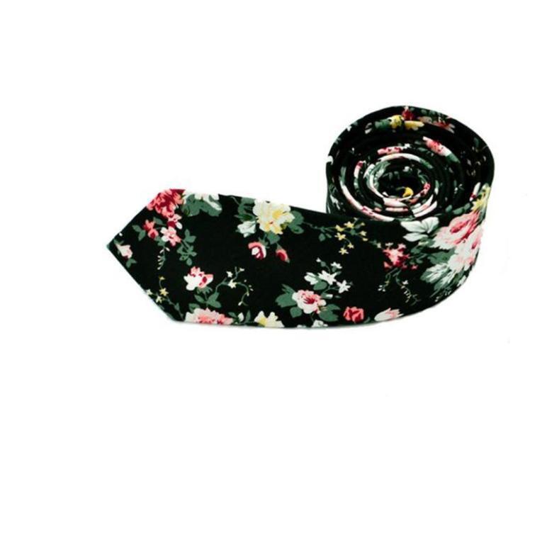 Men Fashion Floral Skinny Slim Necktie Cotton Narrow Business Casual Tie sy