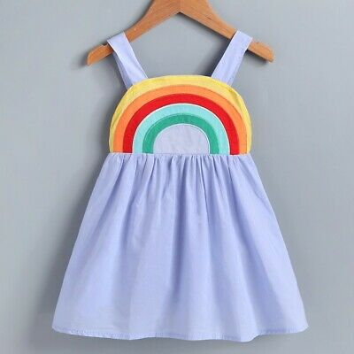 Girls Sun Dress (NEW Rainbow Girls Blue Sleeveless Sun Dress 2T 3T 4T 5T)