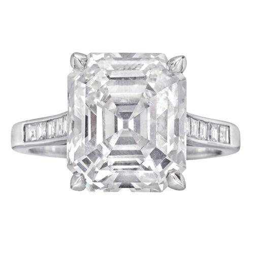 Flawless Asscher Cut Diamond Engagement Ring 2.00 Carat GIA Certified 18K Gold
