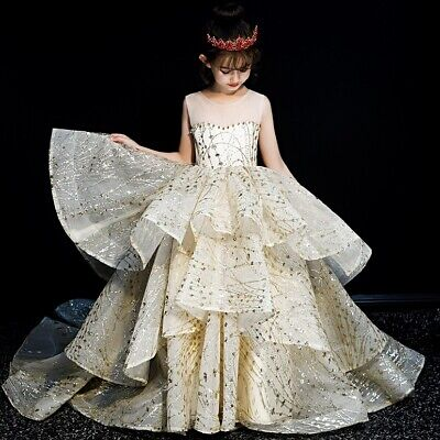 Childrens Girls Elegant Vintage Pageant Gold Glitter Princess Dress Gown ZG9 - Gold Childrens Dress
