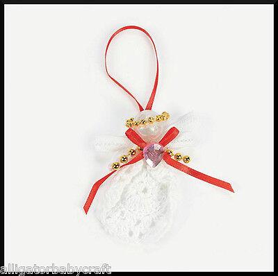 Angel Ornaments For Christmas Tree (Crocheted Angel Christmas Tree Ornament Craft Kit for Kids Jewel Ribbon)