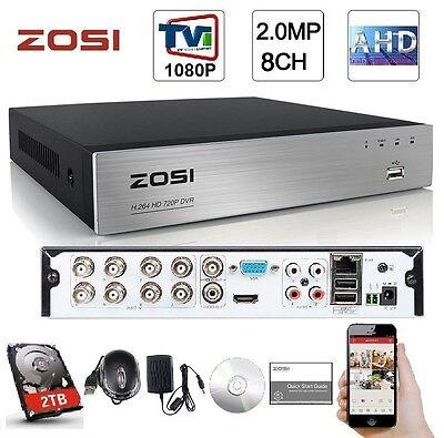 ZOSI 8CH HD-TVI 1080P Lite Video DVR Standalone H.264 Recording Network CCTV+2TB