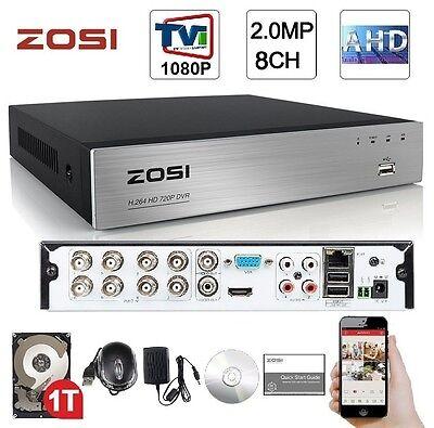 ZOSI 8CH HD-TVI 1080P Lite Video DVR Standalone H.264 Recording Network CCTV+1TB