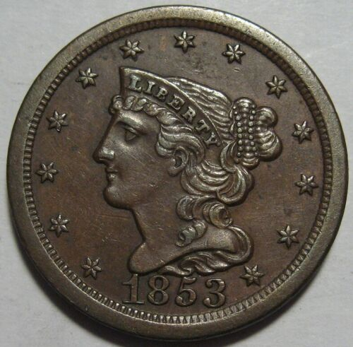 = 1853 AU+ Half Cent, Better Grade, Super EYE Appeal, FREE Shipping